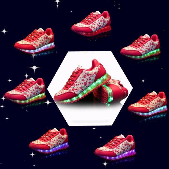 Rouge Floral 7 Couleur Femme USB Charge LED Lumière Lumineux Clignotants Chaussures de Sports Baskets