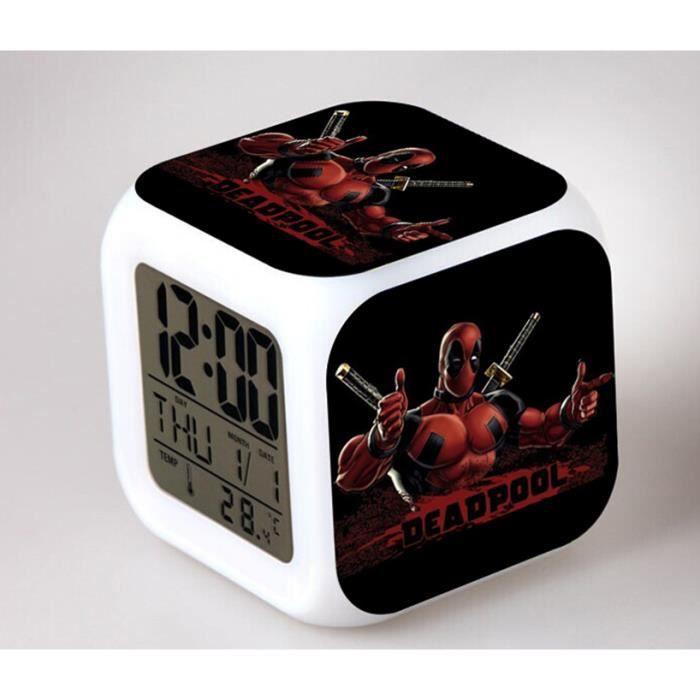 Créatif Deadpool Couleur Coloré Alarme Led Horloge MVzSUp