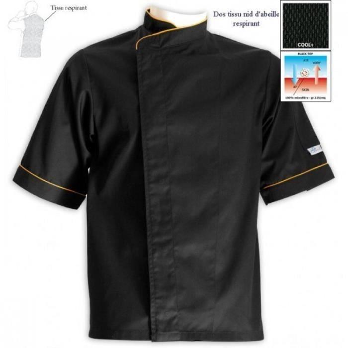 Veste de cuisine grande taille noire lis. orange Noir avec liseré ...