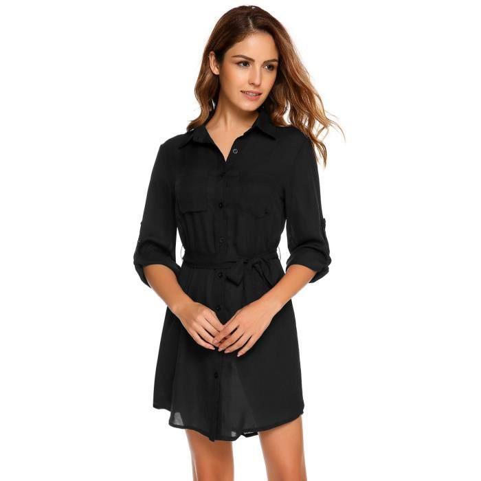 Robe Femmes v-cou Casual à manches longues avec ceinture