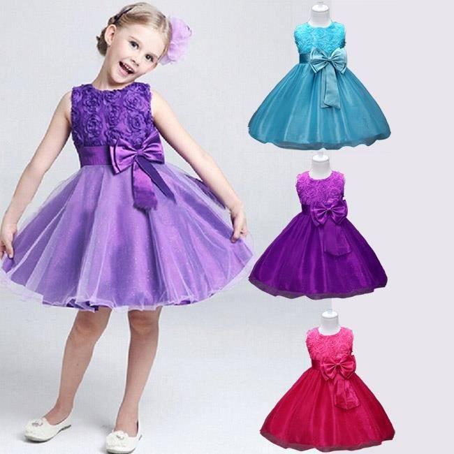 Enfants fille fleur Roses manches violet 110violet 110 Princesse Robes