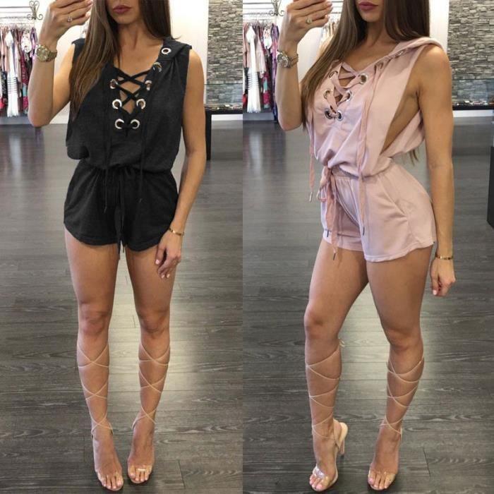 Moulantes New Pour Section Jumpsuit bleu Combishort gris Shorts Body Été Courte Femmes Les Noir Mode 2017 rose Barboteuses rtxQdBCsho