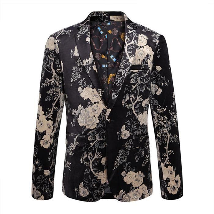veste costume homme r tro fleur imprim velours dor pour homme marque luxe slim fit vestes. Black Bedroom Furniture Sets. Home Design Ideas