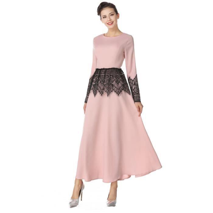 dentelle à manches longues col arabian vêtements o femmes patchwork aline maxi longue robe caftan