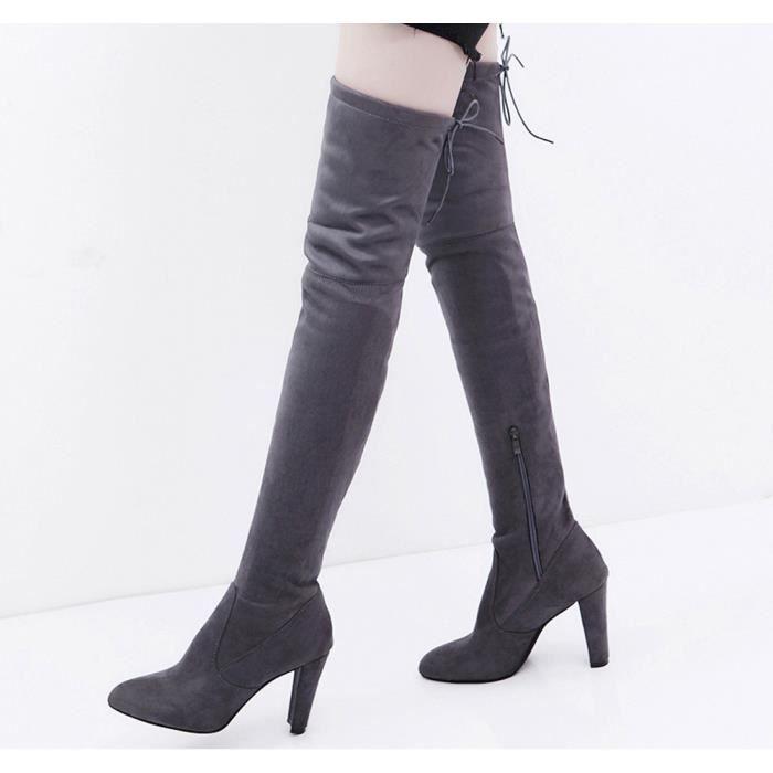 e7017fabeffa Chaussures  Femmes Bottes Slim talon haut Au-dessus du genou Gris + ...