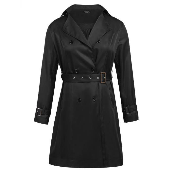 3cbc285bca40 Trench-coat femmes à capuche à double boutonnage avec ceinture Noir ...
