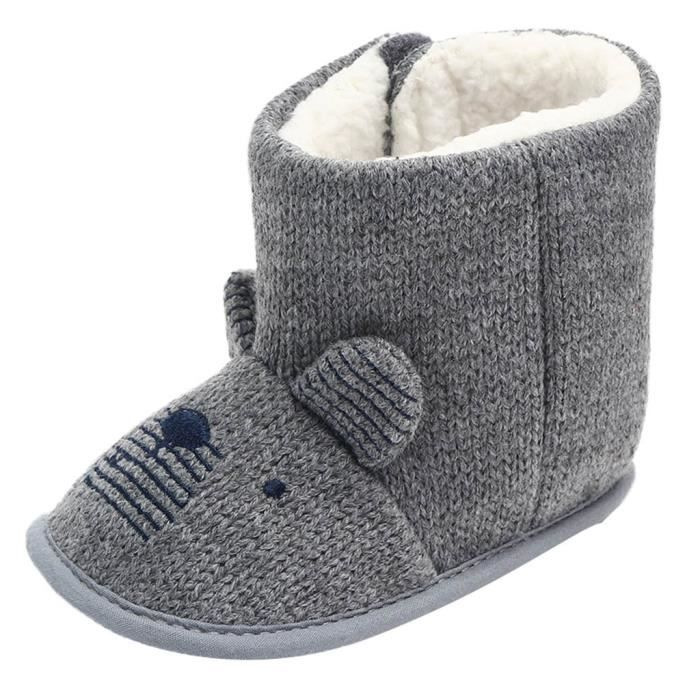 Anti D'hiver Bottes Bow Neige Filles Chaussures Sole Gris Bbs Gar slip 12 ons Molle Bb nx7zqSz