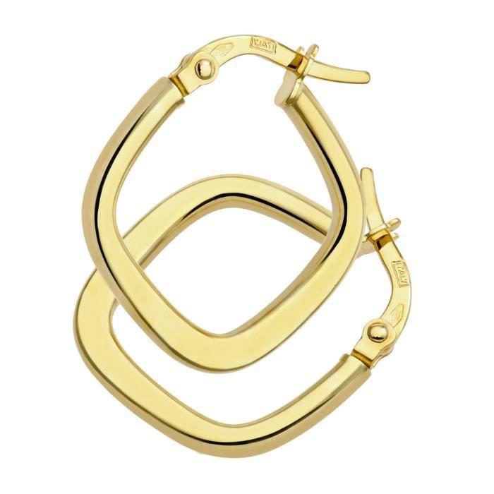 Revoni - Boucles doreilles anneaux plats carrés torsadés en or jaune brillant 9 carats