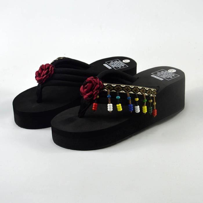 Rouge Bain Femmes Chaussons Tongs Accueil Bohême Chaussures Plage De Wedge wqvxqzXPa
