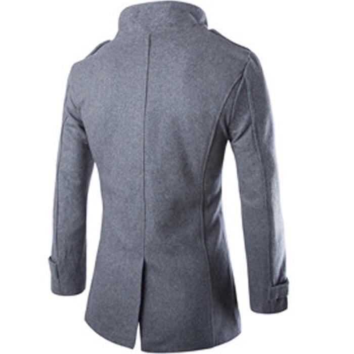 Mode Britannique Clair Vêtement gris En Fausse Vêtements La Parka gris Style Laine Homme Marque Uni Masculin Luxe A De Noir TFwX86Uq