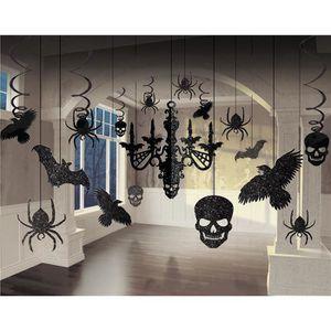 Déco de fête murale Lustre scintillant et découpes Halloween