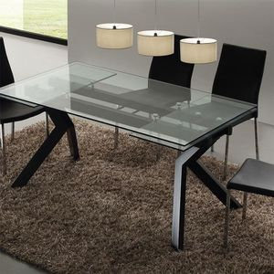 Table Extensible Verre Trempe Noir