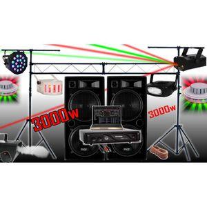 PACK SONO PACK SONO 3000W + AMPLI + ENCEINTES + 6 JEUX DE LU