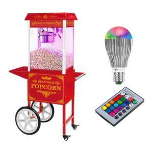 MACHINE À POP-CORN ÉLEC Set machine à popcorn Rouge avec chariot + Ampoule