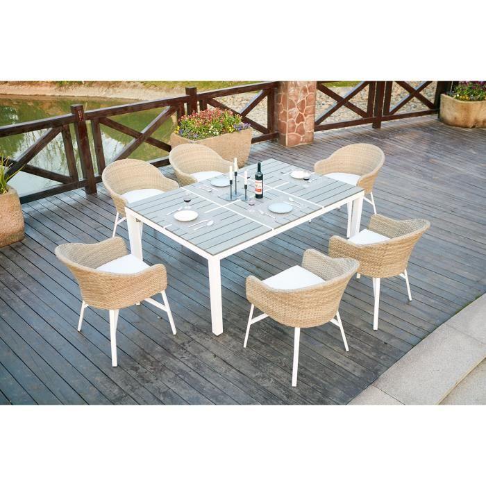 Salon de jardin aluminium et polywood 6 personnes - Achat / Vente ...
