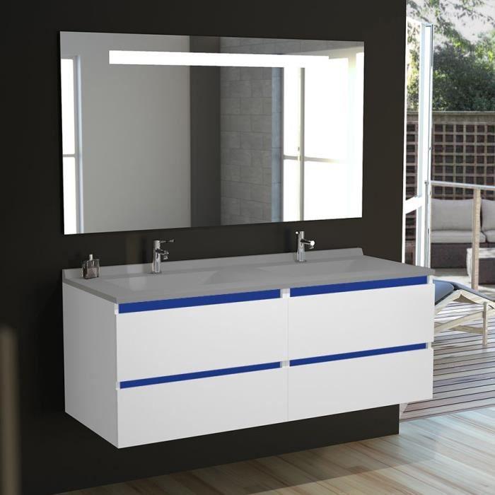 Meuble salle de bain double vasque ARLEQUIN 140x55 - 5 coloris au ...