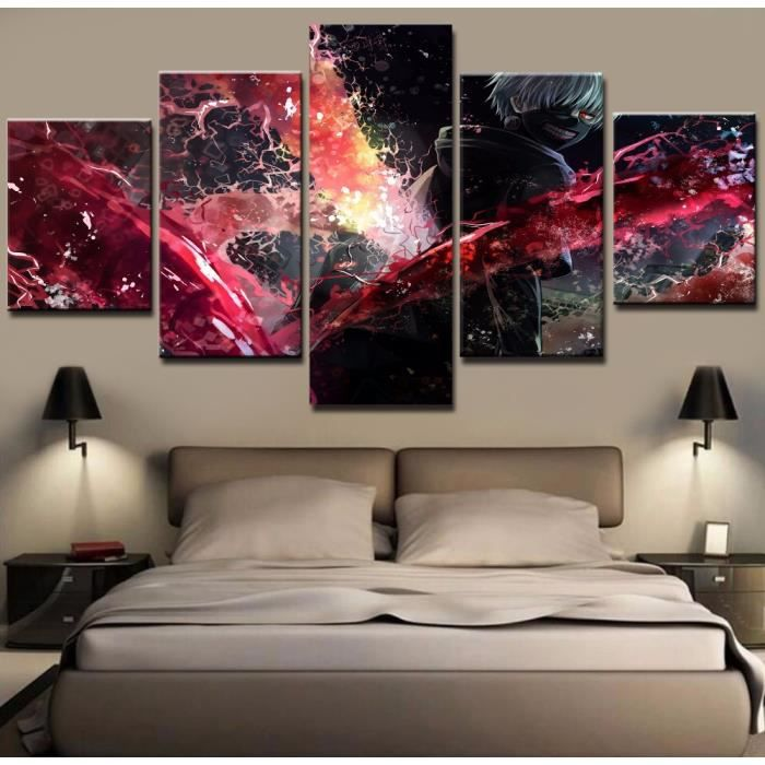 Wall Art Toile Peinture Style Pour Salon Encadrée 5 Pcs