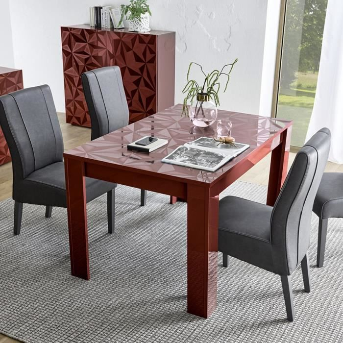 Table Salle A Manger Extensible Rouge Laque Design Paolo 2 Gris L 137 X P 90 X H 79 Cm