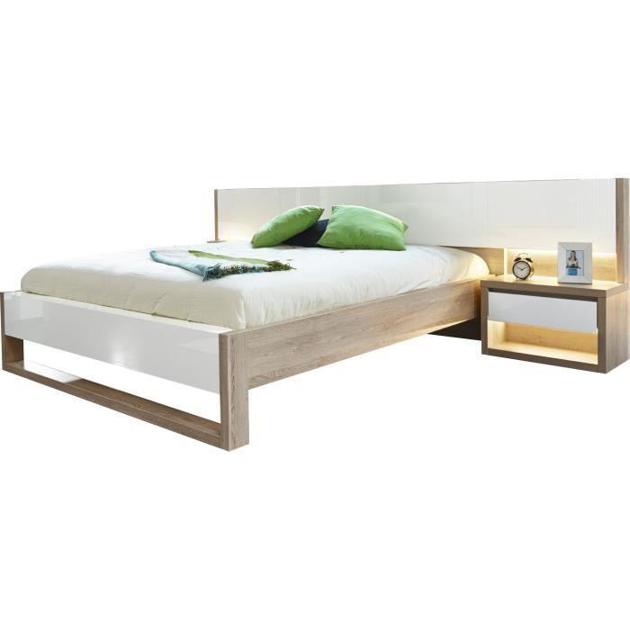 Lit 160x200 cm avec 2 chevets coloris ch ne clair et blanc - Table de chevet chene clair ...