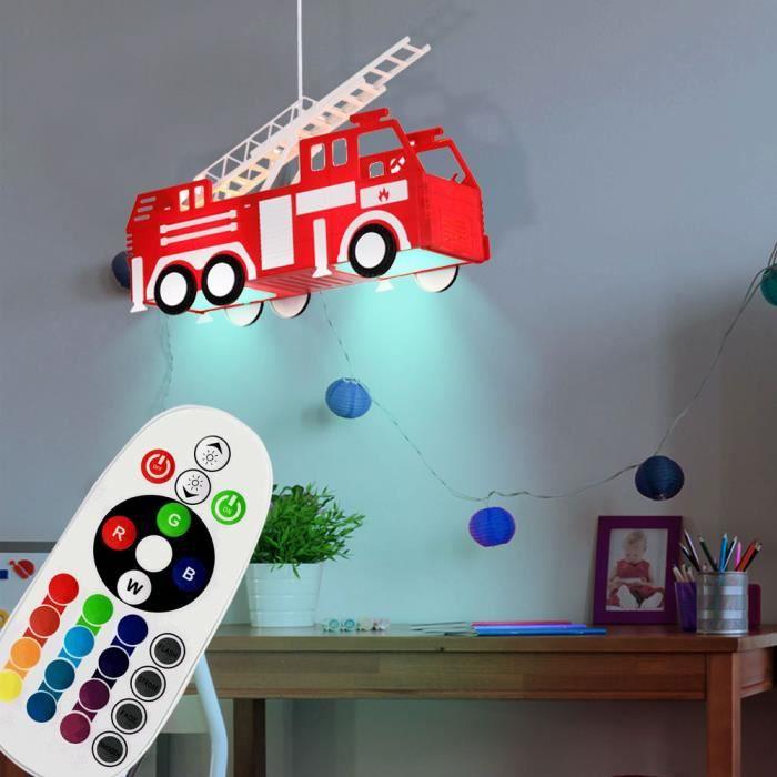 Led Suspension Lampe Rgb Telecommande Pompier Voiture Enfants Salle