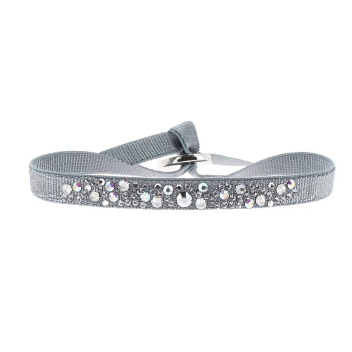 Bracelet LES INTERCHANGEABLES en Tissu Argenté et Cristal Gris - A33665