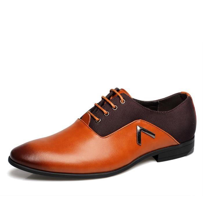 Derby Cuir Chaussures Homme Jaune Noir M9LNb