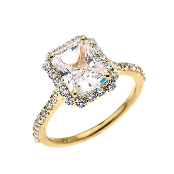 Bague Femme 14 Ct Or Jaune 2 Ct Emeraude Coupe Oxyde De Zirconium Solitaire