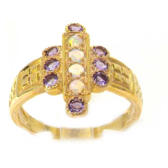 Bague pour Femme en Or jaune 9 carats 375-1000 sertie d Opale Amethyste- Tailles 50 à 64