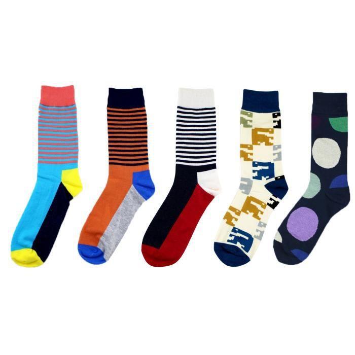 lot de 5 paires chaussettes pour homme coton fantaisie. Black Bedroom Furniture Sets. Home Design Ideas