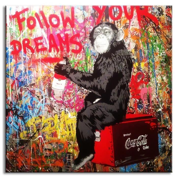 TABLEAU - TOILE Banksy Graffiti Art Home Décor Peinture à l'huile
