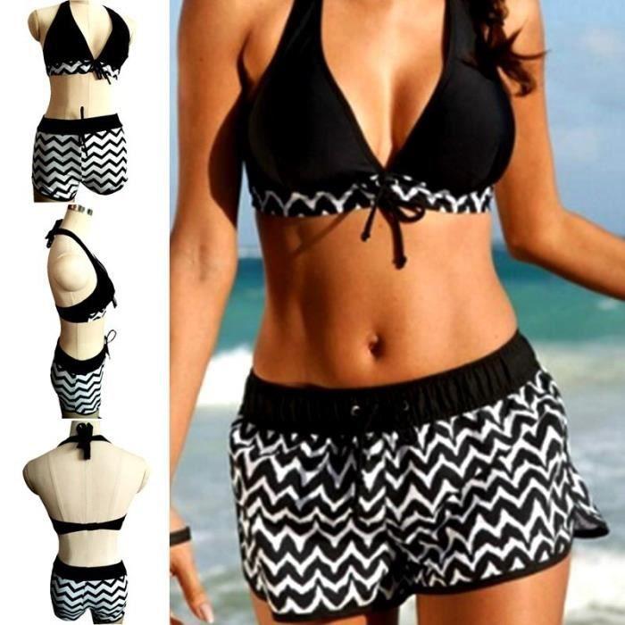 1f4b7292b2 Maillot de Bain femme 2 pièces bikini de plage Modèle scie lacet dos nu col  en V sexy blanc et noir grande taille S--5XL