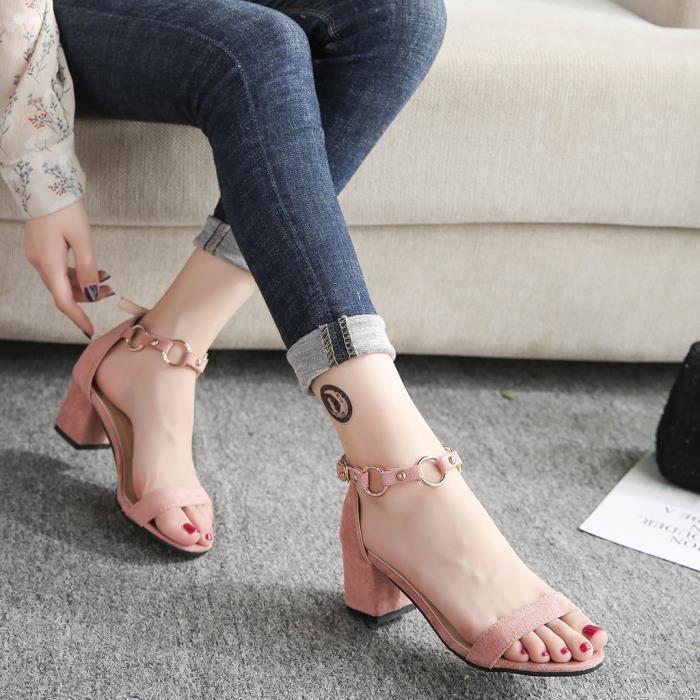 D'âge Toe Moyen Mode Carré Talons Talon Sandales Rose Dames Casual Pour Plein Ouvertes Chaussures Femmes wRwrYxOE