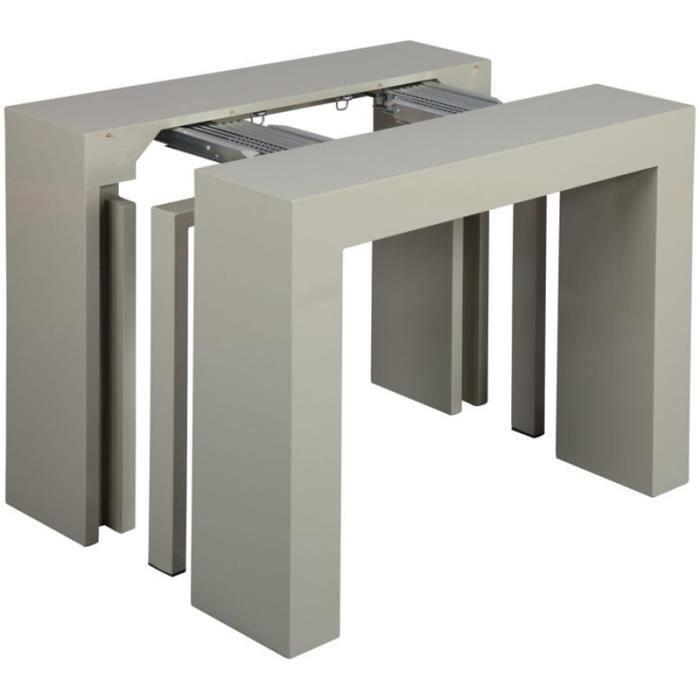 Table extensible avec 3 allonges coloris gris achat - Console extensible avec rangement rallonges ...