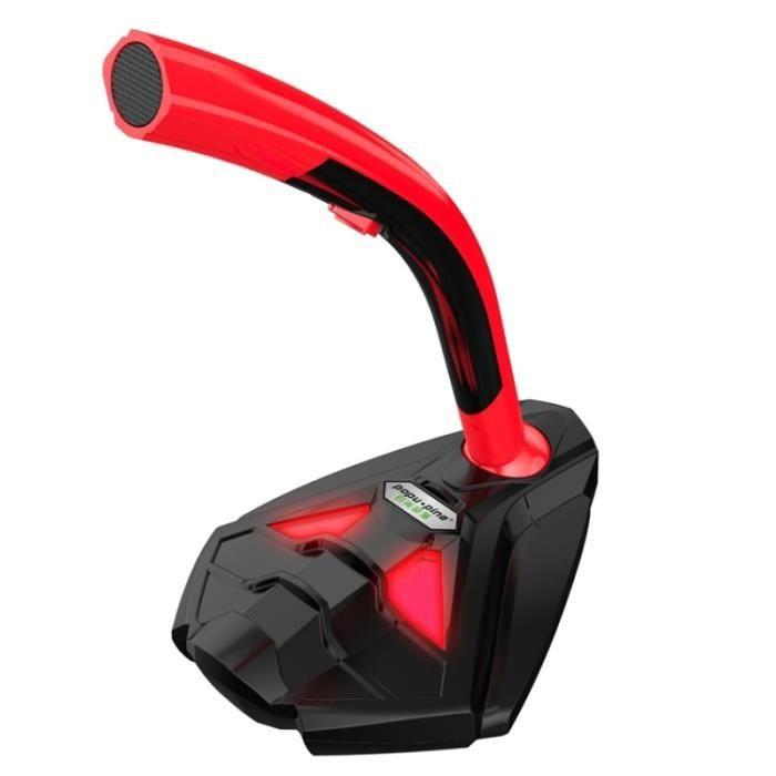 Microphone De À Condensateur Micro Filaire Omnidirectionnel K1 3,5 Mm Avec Support Téléphone, Compatible Pc / Mac Po - Rouge