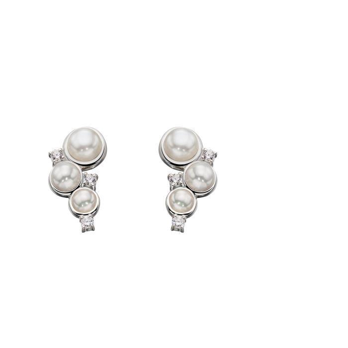Pearl Femmes et Zircon Argent Boucles doreilles Crawler 1Z5Z0M