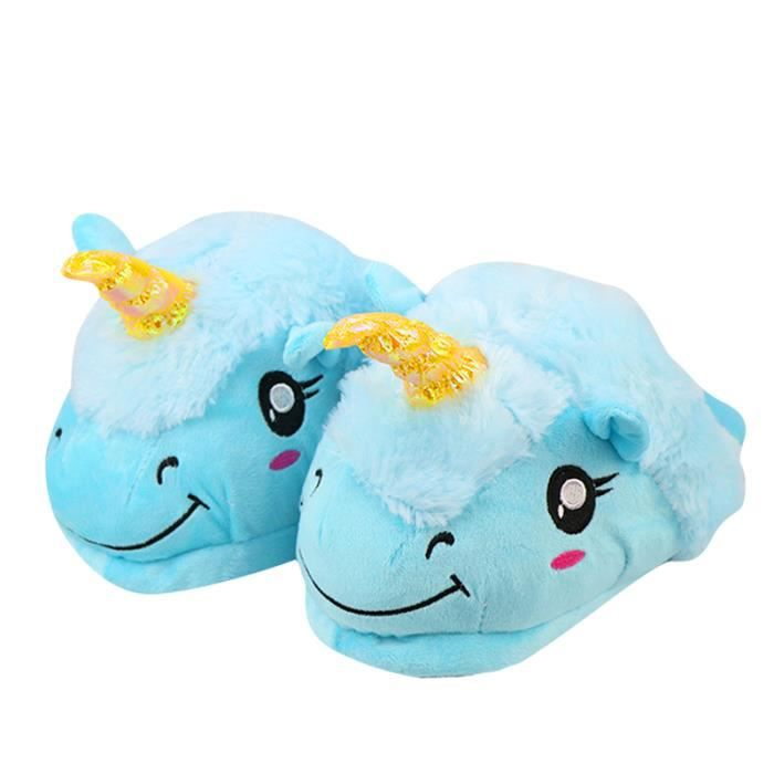 Chaussons Enfant Licorne Pantoufles en Peluche Hiver Domicile en coton chaud Drôle mignon Cartoon Animal Noël pantoufle