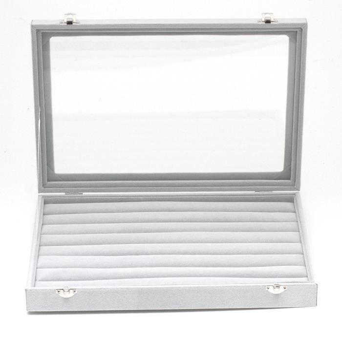 Présentoir coffret boîte à bagues 34x24cm velours Gris