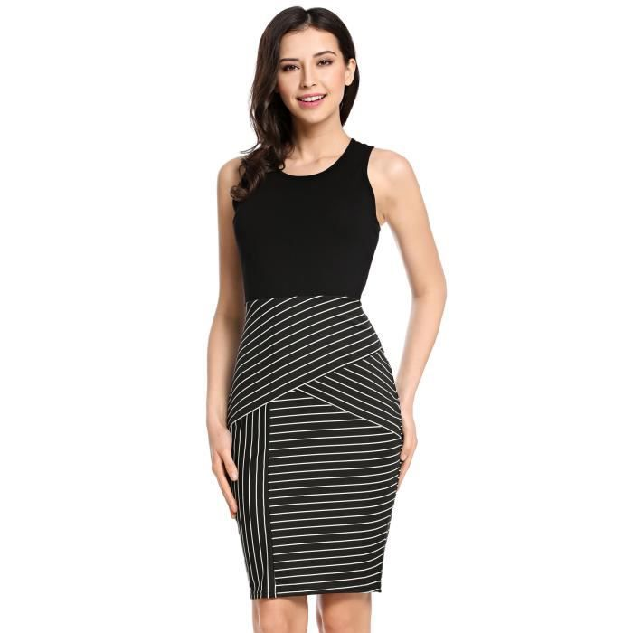 Meaneor Womens Summer Striped Patchwork Sleeveless Pencil Dress 2AG9QP Taille-40