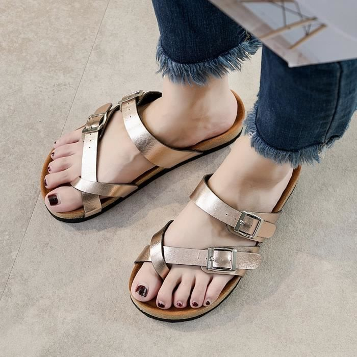 Beach Toe Strap Soled Flat Rose Or Femmess Thick Fashion 3496 Cross Cork Shoe Sandals uji Slippers xYqR1nEw