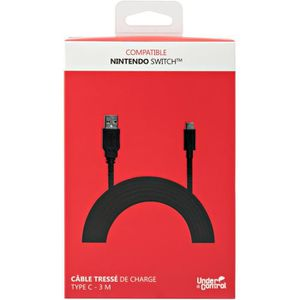 PROXIMA PLUS Câble de charge tressé - Type C 2A - 3 M pour Nintendo Switch - Noir
