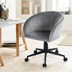 CHAISE DE BUREAU Chaise de bureau - Tissu gris - Pieds : métal chro