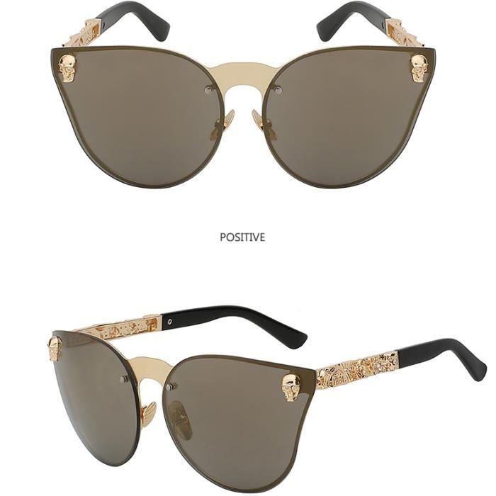 166e477fe1 Nouveau 2018 Unique Crâne Cateyes Mode De Luxe lunettes de soleil Hommes  Surdimensionné Sans Monture Vintage