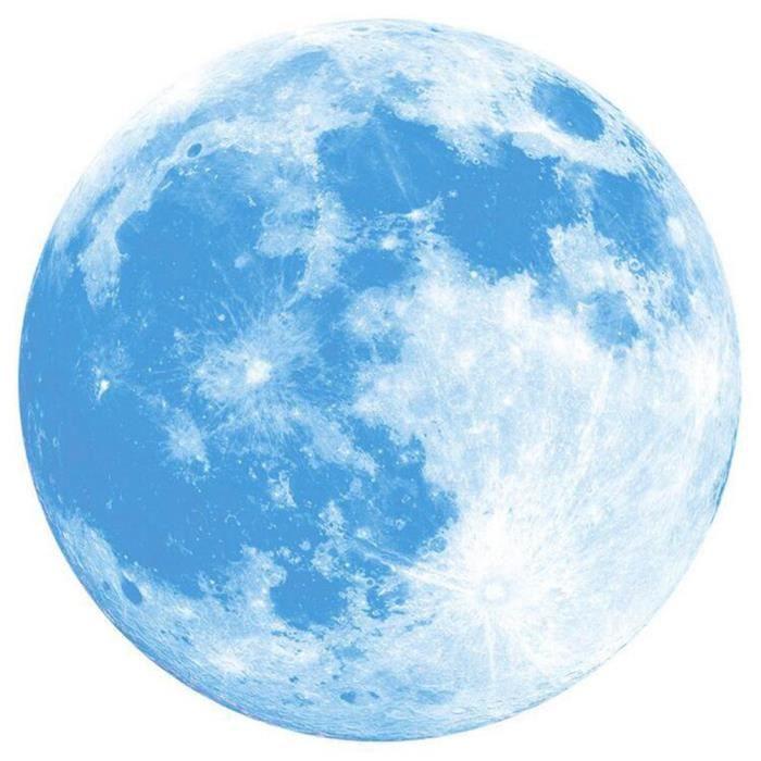 Fluorescent L'obscurité Murale 3d Autocollant Lune Grande Dans Xpp11138687 Amovible Lueur Napoulen®30cm EHI2Y9WD