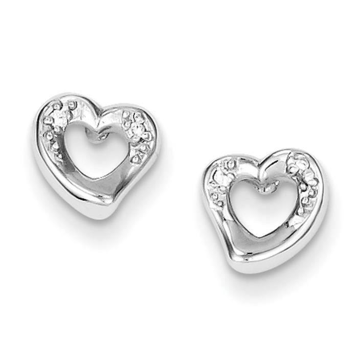 En argent Sterling et zircone en forme de cœur-Boucles doreille