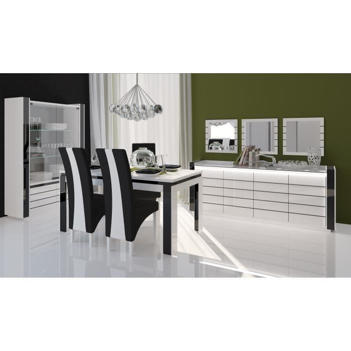 Meuble de salon salle manger lina 9 l ments achat for Meuble de salle a manger noir et blanc