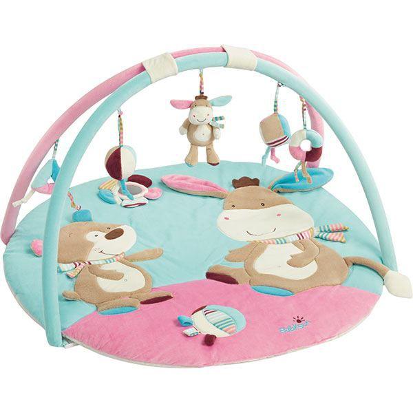 babysun tapis d 39 eveil monkey donkey ane rose et bleu. Black Bedroom Furniture Sets. Home Design Ideas