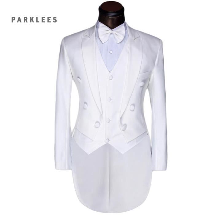 Costume homme mariage 3 pieces Hommes formelle ... blanc - Achat ... cd11aa2bcc1
