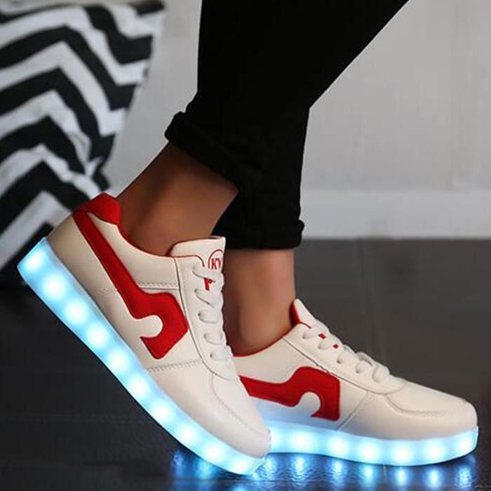 Chaussures LED 7 Couleur Unisexe Homme Femme USB Charge Lumineuses Basket KIANII® Blanc