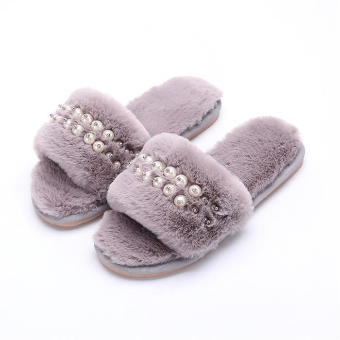 Chaussons Perles Femme 2018 Hiver Fluffy Peluche Chausson charmant Meilleure Qualité chaussure Taille 35-40 4Q8pwERnn