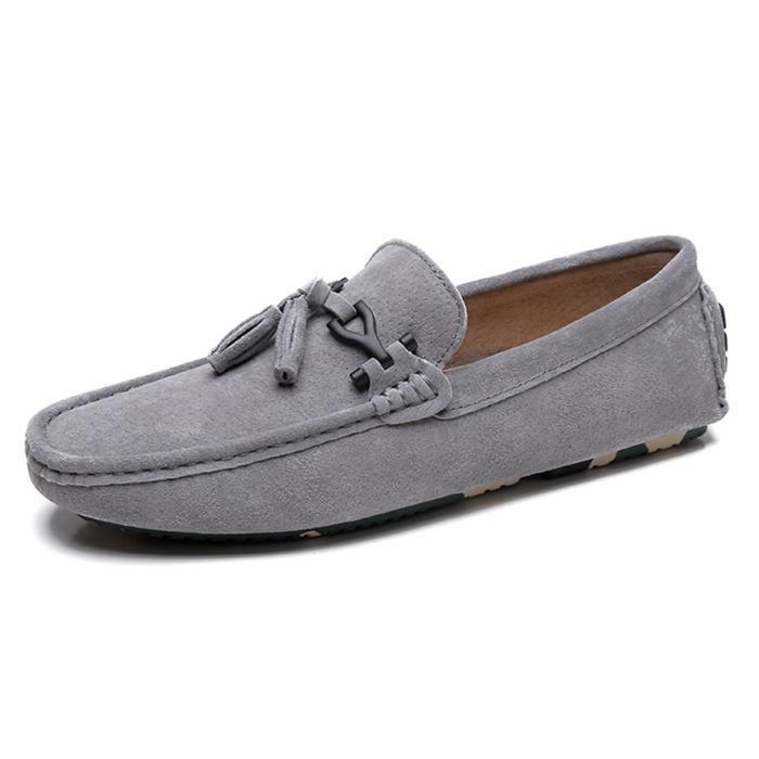 Homme Moccasins 2018 Nouveauté Mode Poids Léger Moccasin Respirant Antidérapant Chaussure Classique Doux gris noir Haut qualité zGpXx